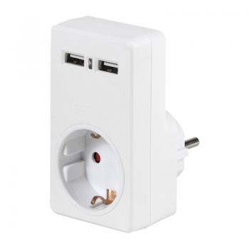 Adaptador Vivanco 34422/ Schuko - 2x USB Hembra - Imagen 1