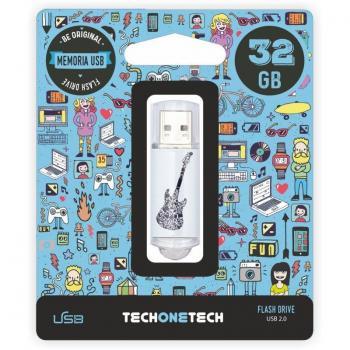 Pendrive 32GB Tech One Tech Crazy Black Guitar USB 2.0 - Imagen 1