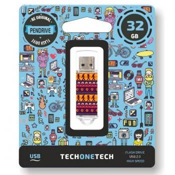 Pendrive 32GB Tech One Tech Tribal Questions USB 2.0 - Imagen 1