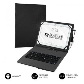 Funda con Teclado Subblim Keytab Pro USB para Tablets de 10.1'/ Negra - Imagen 1