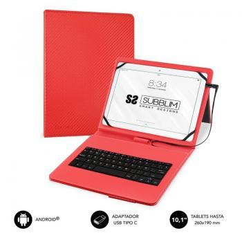 Funda con Teclado Subblim Keytab Pro USB para Tablets de 10.1'/ Roja - Imagen 1
