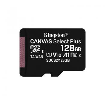 Tarjeta de Memoria Kingston CANVAS Select Plus 128GB microSD XC/ Clase 10/ 100MBs - Imagen 1