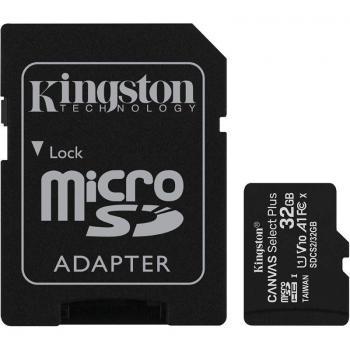 Tarjeta de Memoria Kingston CANVAS Select Plus 32GB microSD HC con Adaptador/ Clase 10/ 100MBs - Imagen 1
