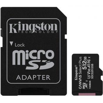 Tarjeta de Memoria Kingston CANVAS Select Plus 512GB microSD XC con Adaptador/ Clase 10/ 100MBs - Imagen 1