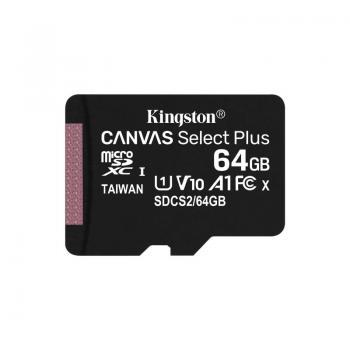 Tarjeta de Memoria Kingston CANVAS Select Plus 64GB microSD XC/ Clase 10/ 100MBs - Imagen 1