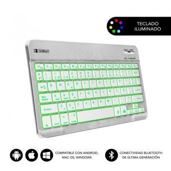 Teclado Compacto Inalámbrico por Bluetooth Subblim Smart Backlit/ Plata - Imagen 1