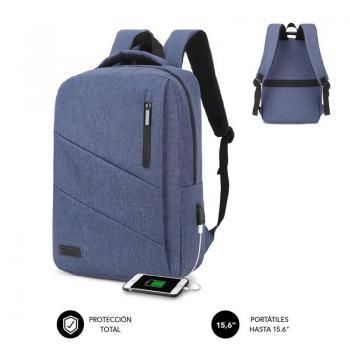 Mochila Subblim City Backpack para Portátiles hasta 15.6'/ Puerto USB/ Azul - Imagen 1