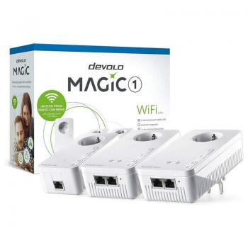 PLC/POWERLINE DEVOLO MAGIC 1 WIFI 21-3 8373 - 3 UNIDADES (1 LAN + 2 WIFI) - 1200MBPS (PLC)/300MBPS (WIFI) - RJ45 - TOMA SCHUKO -