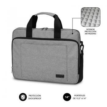 Maletín Subblim Air Padding Laptop Bag para Portátiles hasta 14'/ Cinta para Trolley/ Gris - Imagen 1