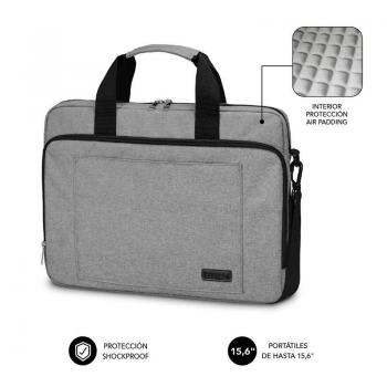 Maletín Subblim Air Padding Laptop Bag para Portátiles hasta 15.6'/ Cinta para Trolley/ Gris - Imagen 1