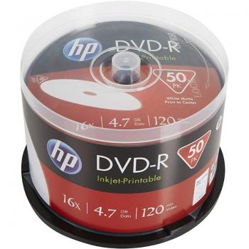 DVD-R HP DME00025WIP-3 Inkjet Printable 16X/ Tarrina-50uds - Imagen 1