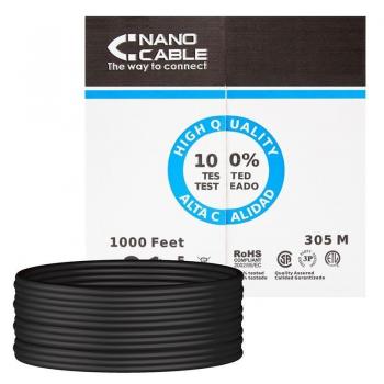 Bobina de Cable RJ45 UTP Nanocable 10.20.0304-EXT-BK Cat.5e/ 305m/ Negro - Imagen 1