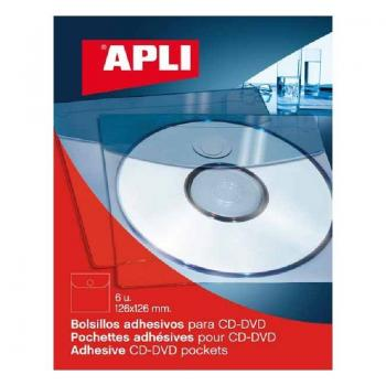 Bolsillos Adhesivos Apli 2585 para CD/ 6 Unidades - Imagen 1