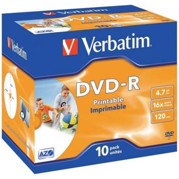 DVD-R Verbatim Imprimible 16X/ Caja-10uds - Imagen 1