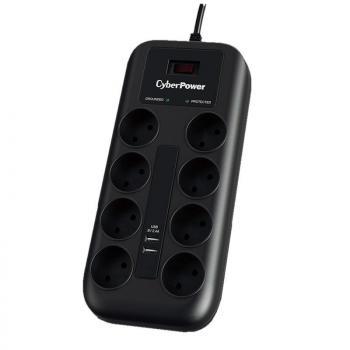 Regleta con Interruptor Cyberpower P0820SUD0-DE/ 8 Tomas de corriente/ 2 USB/ Negra - Imagen 1