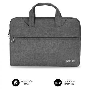 Maletín Subblim Business Laptop Sleeve para Portátiles hasta 15.6'/ Cinta para Trolley/ Gris - Imagen 1