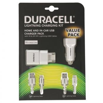 Cargador de Pared/Coche Duracell Valuepack DRBUN002-EU/ 1xUSB/ 1xUSB + 2xCables Lightning/ 2.1A/ 2.4A - Imagen 1