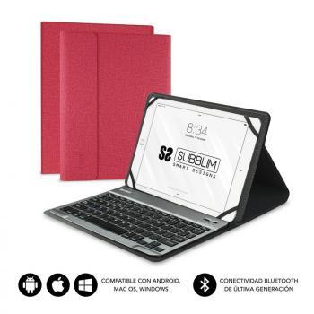 Funda con Teclado Subblim Keytab Pro Bluetooth para Tablets de 10.1'/ Roja - Imagen 1