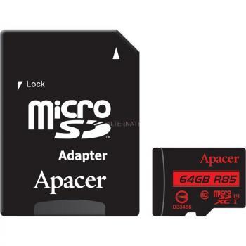 TARJETA MICROSD XC + ADAPTADOR APACER 64GB -  CLASE 10 - 85MB/S - Imagen 1