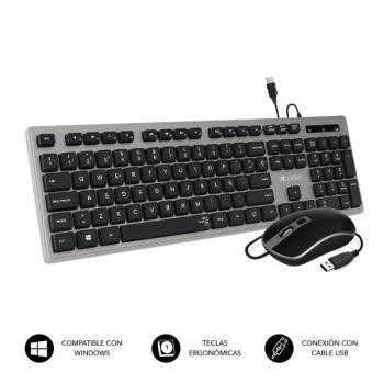 Teclado y Ratón Subblim Combo Wired Ergo Keys Silent Flat HQ/ Negro y Gris - Imagen 1