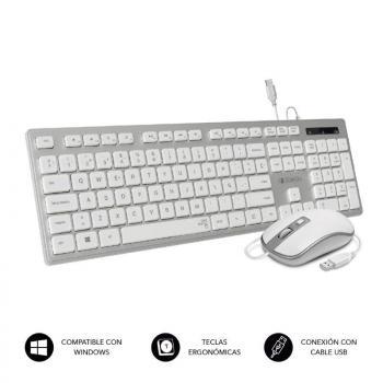 Teclado y Ratón Subblim Combo Wired Ergo KeysSilent Flat HQ/ Plata y Blanco - Imagen 1