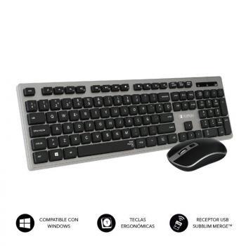 Teclado y Ratón Inalámbrico Subblim Combo Wireless Ergo Keys Silent Flat HQ/ Gris y Negro - Imagen 1
