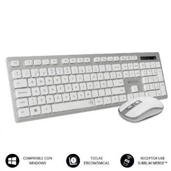 Teclado y Ratón Inalámbrico Subblim Combo Wireless Ergo Keys Silent Flat HQ/ Plata y Blanco - Imagen 1