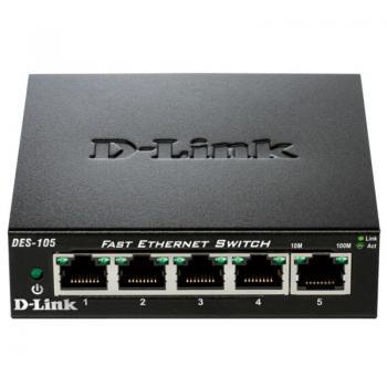 SWITCH D-LINK DES-105 - 5 PUERTOS 10/100 - AUTO MDI/MDIX - PLUG AND PLAY - Imagen 1